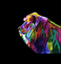 colorful lion head on pop art style vector image