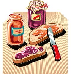 Cut slices bread spread with jam vector