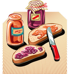 Cut slices of bread spread with jam vector