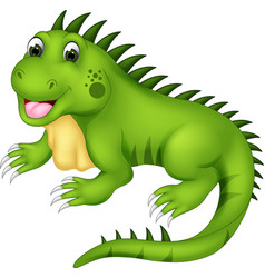 Cute iguana cartoon posing with laughing vector