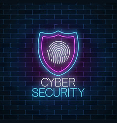cyber security glowing neon sign on dark brick vector image