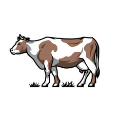 Dairy cow farm animal color option vector