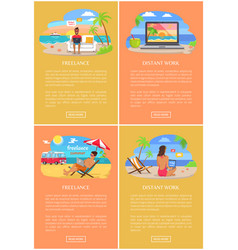 Distant work and freelance bright banners set vector