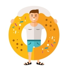 Donut boy Flat style colorful Cartoon vector image