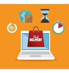E-shopping fast delivery online service vector