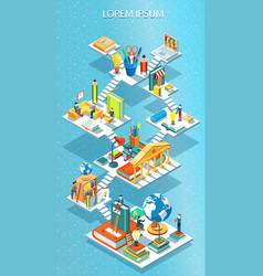 educational isometric concept vector image