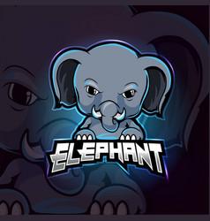 Elephant mascot esport logo design vector