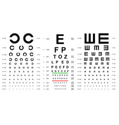 eye test chart placard banner card set vector image