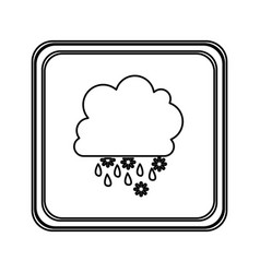 figure emblem cloud rainning and snowing icon vector image