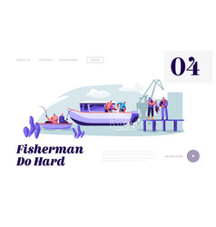 fishermen working on large boat ship catching fish vector image