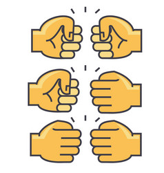 fist bump union friendship concept line vector image