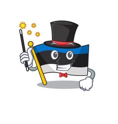 Flag estonia cartoon with in magician character vector