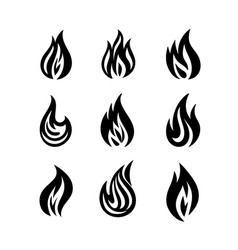 flame and fire symbols and icons vector image