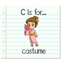 Flashcard letter c is for costume vector