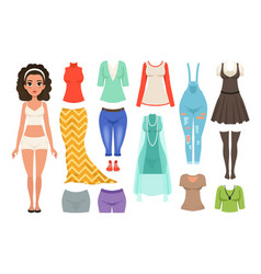flat set women s clothes items stylish vector image