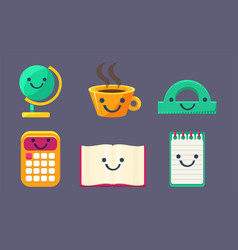funny cute school stationery characters set earth vector image
