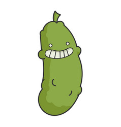 Funny smiling dill pickle cartoon vector