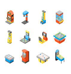 Game machine 3d icons set isometric view vector