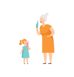 grandmother and her little granddaughter eating vector image