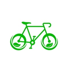 Green bicycle with leaves icon simple style vector image