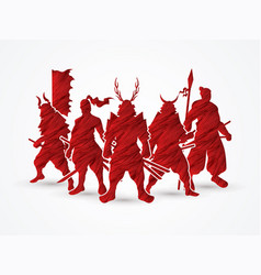 group of samurai warrior pose vector image