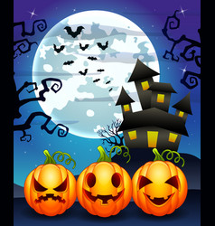 halloween background with cartoon pumpkins charact vector image