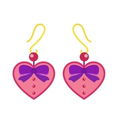 Hearts earrings beautiful pink accessory isolated vector image