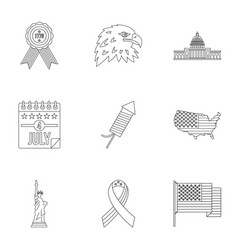 Independence day icon set outline style vector