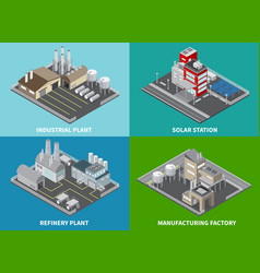industrial buildings concept icons set vector image