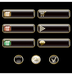 Internet buttons gold and with precious stones vector