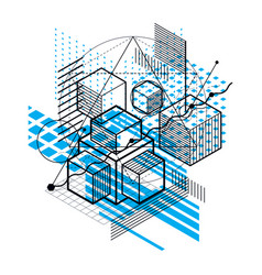 isometric linear abstract background lined vector image