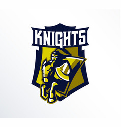 logo emblem sticker badge of a knight galloping vector image