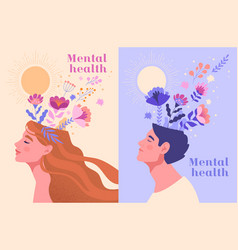 Mental health happiness harmony abstract concept vector
