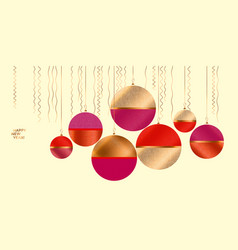 Minimal stylish red and pink xmas tree balls vector