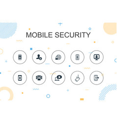 Mobile security trendy infographic template thin vector