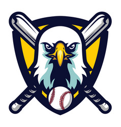 modern professional eagle baseball team logo badge vector image