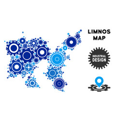 Mosaic limnos greek island map of gears vector