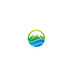 mountain landscape nature emblem logo vector image