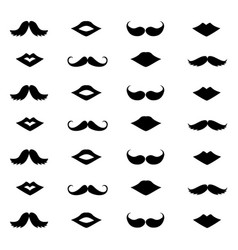 Mustache and lips on a white background vector