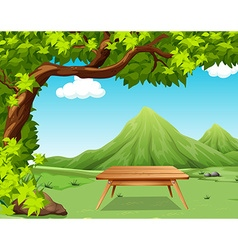 Nature scene with picnic table in the park vector