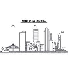 Nebraska omaha architecture line skyline vector