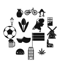 netherlands icons set simple style vector image