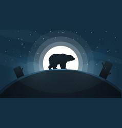 Night landscape bear moon vector