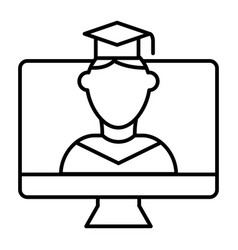 Online educationa thin line icon student on vector