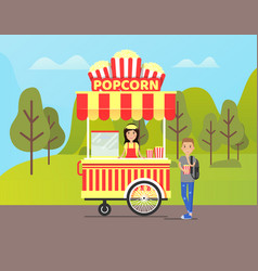 Popcorn stall with seller and person buying food vector