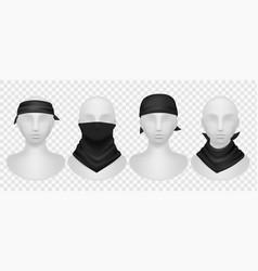 realistic black bandana mannequins mockup with vector image