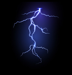 Realistic lightning in dark night sky vector