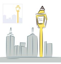 retro street lantern and modern city skyline vector image