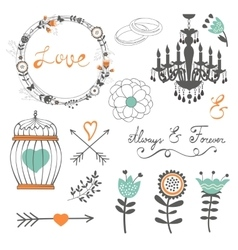 Romantic collection with flowers wreaths and vector image