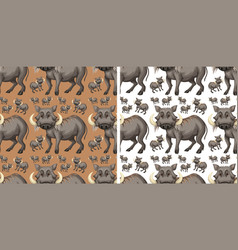Seamless background template with warthogs vector